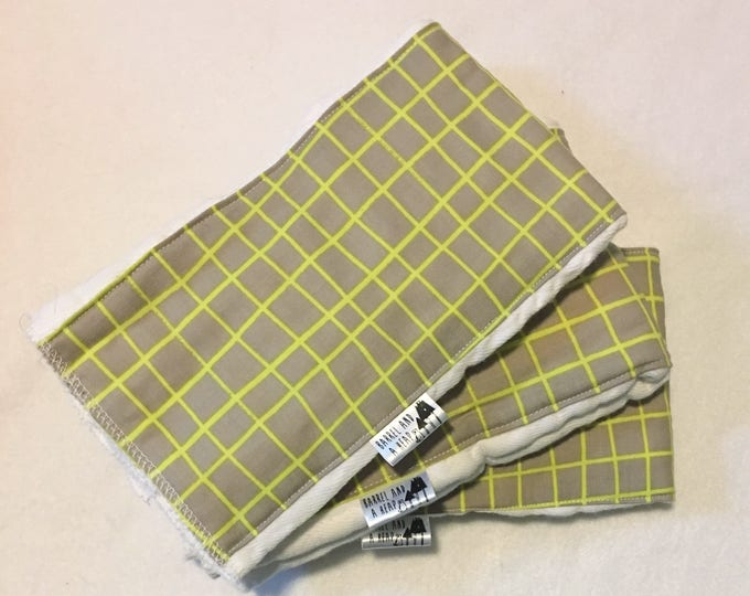 Set of 3 Grey and Green Grid Burp Cloths