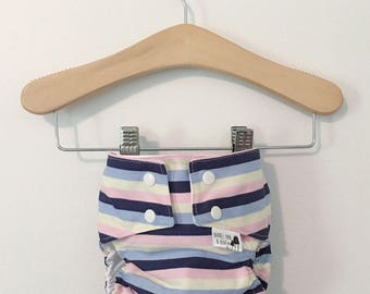 Stripes On Stripes On Stripes PUL Lined Water Resistant Diaper Cover Available in Small