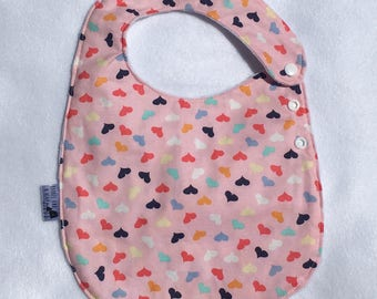 Heart Adjustable Side Snap Bib with Minky Back