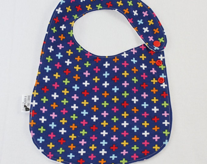Colorful Addition Adjustable Side Snap Bib with Minky Back