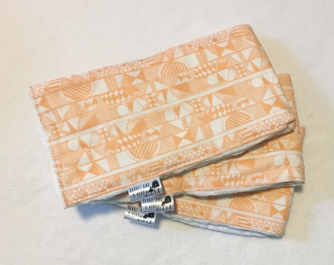 Set of 3 Orange Tribal Burp Cloths