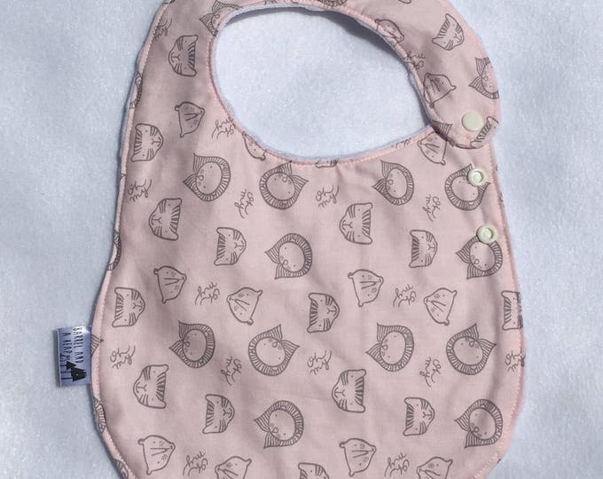 Pink Lions and Tigers and Bears Adjustable Side Snap Bib with Minky Back
