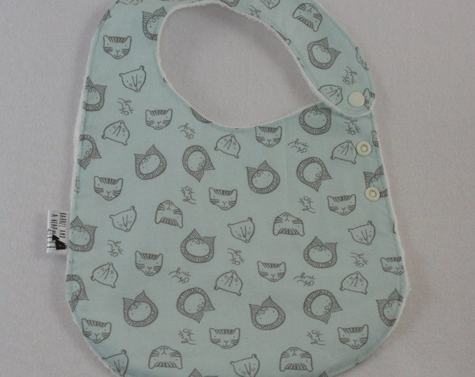 Blue Lions and Tigers and Bears Adjustable Side Snap Bib with Minky Back