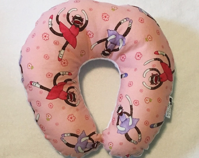 Pink Sock Monkeys Travel Neck Pillow for Children and Adults
