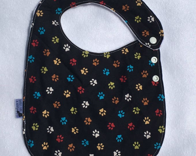 Puppy Paw Adjustable Side Snap Bib with Minky Back