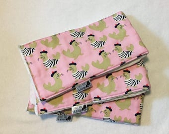 Set of 3 Pink French Seals Burp Cloths