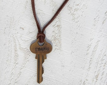 Men's necklace,key necklace, Hand Stamped Jewelry,Men's Jewelry, Men's Necklace, Personalized Jewelry