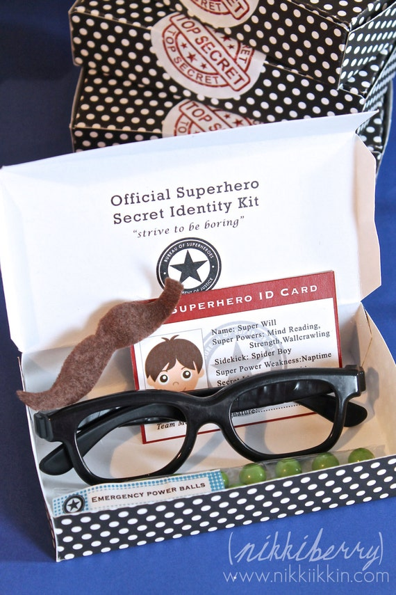 instant download super hero secret identity favor box