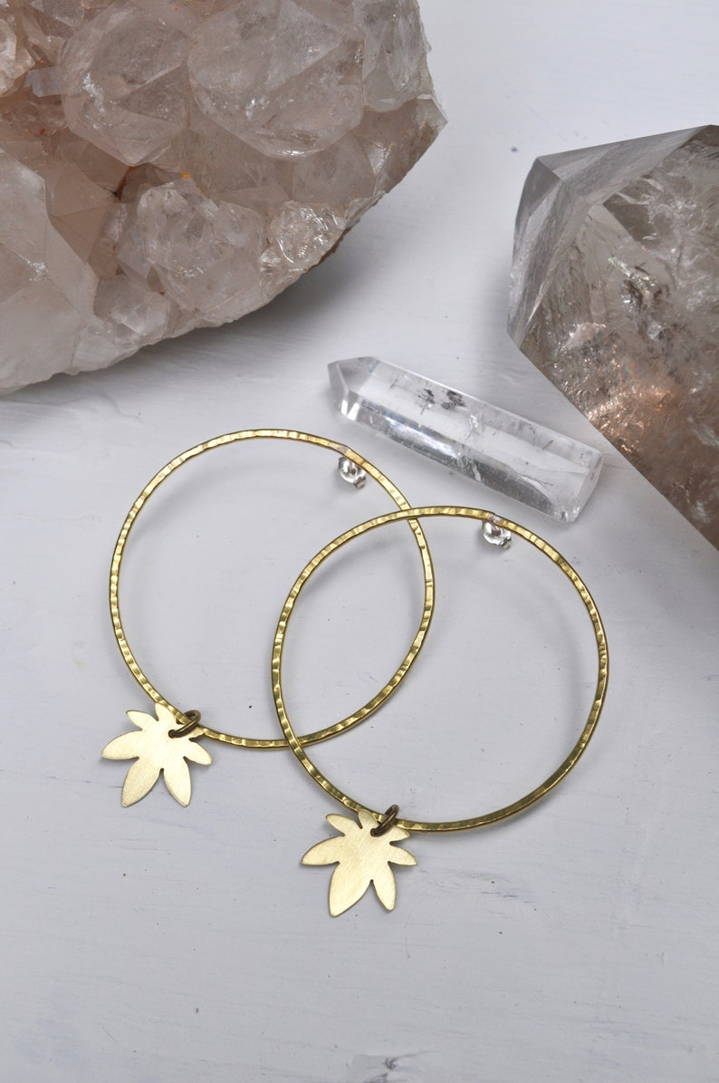c5d119f4ba9 Ganja Baby | Hammered Hoop / Stud Earrings with tiny Cannabis Pot Leaf  Charms
