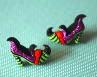 Witch Shoe Earrings -- Witch Studs, Halloween Jewelry, Witch Shoes