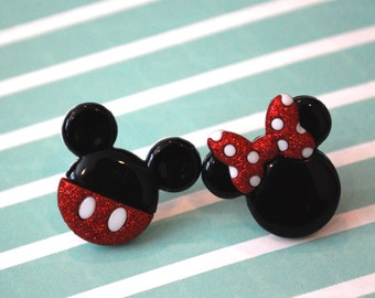 Mickey and Minnie Mouse Earrings -- Mickey Mouse, Minnie Mouse, Mouse Ears