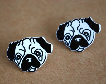 Dog Earrings -- Pug Studs, Pug Earrings, Dog Studs, Black and White, Unique Earrings