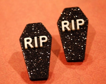 Tombstone Earrings -- Halloween Tombstone Studs, RIP Tombstone