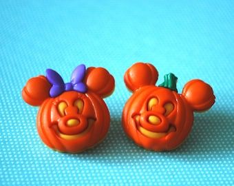 Halloween Mickey Mouse Pumpkin Earrings -- Mickey and Minnie Mouse, Mouse Ears, Halloween Earrings