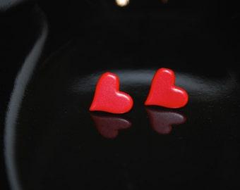 Red Heart Earrings -- Red Heart Studs, Silver