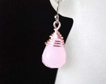Rose Quartz Earrings -- Pink Earrings, Teardrop Earrings