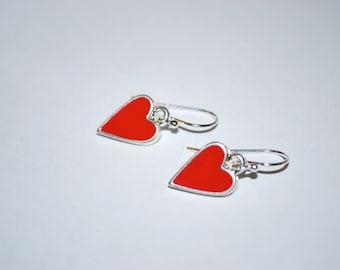 Sweet heart Earrings -- Red Hearts, Silver