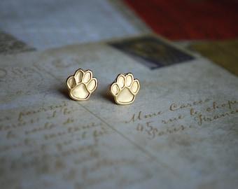 Paw Print Studs -- Gold Paw Print Earrings, Brass Earrings