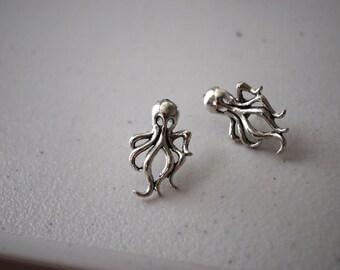Silver Octopus Studs -- Silver Octopus Earrings, Kraken, Game of Thrones