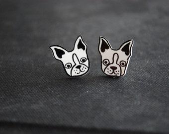 Dog Earrings -- Bulldog Studs, French Bulldog Earrings, Unique Earrings