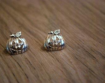 Pumpkin Earrings -- Pumpkin Studs, Silver Pumpkin Earrings, Halloween Earrings