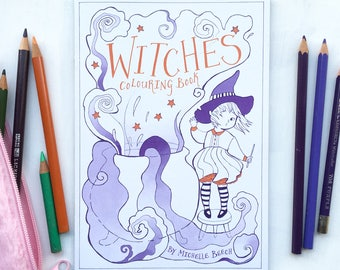 Witches Colouring Book by Michelle Beech // 16 pages - A5 size - art - illustration - fantasy - magic