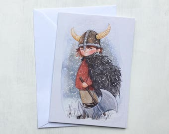 Viking Boy Birthday Greeting Card // A6 size - blank inside - gift - stationery