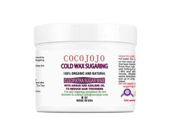 Organic Cold Sugaring Hair Removal Wax 100% Vegan Formula - Brazilian Bikini Safe for Face & Body - 8 oz - Men and Women - By Hand, Spatula
