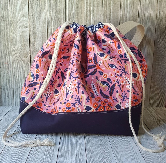 knitting project bag extra large drawstring project tote bag etsy