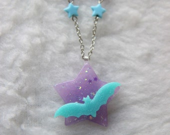 Purple and Blue Starry Night Necklace