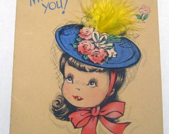 Vintage card 1948, Missing you, feather on front, by Gibson Card