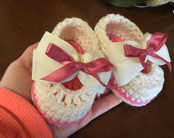 Ivory and rose baby girl booties shoes