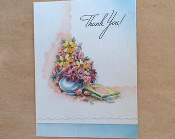 vintage 1941 thank you card art deco lettering - signed