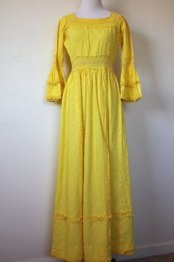 Vintage Yellow Mexican Cotton Wedding Dress