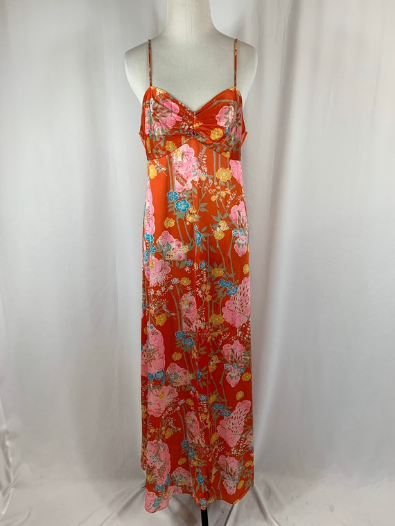 Vintage Dark Orange Floral Floor Length Peignoir
