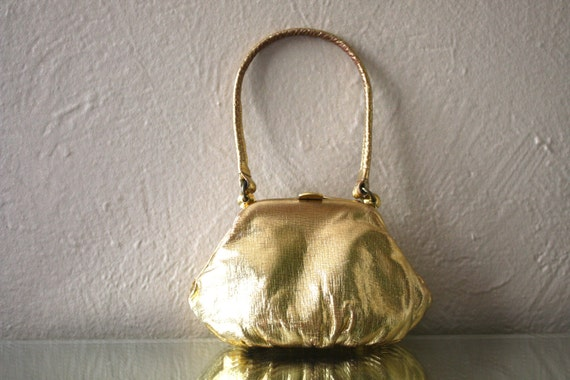 Vintage Tiny Leather Gold Handbag