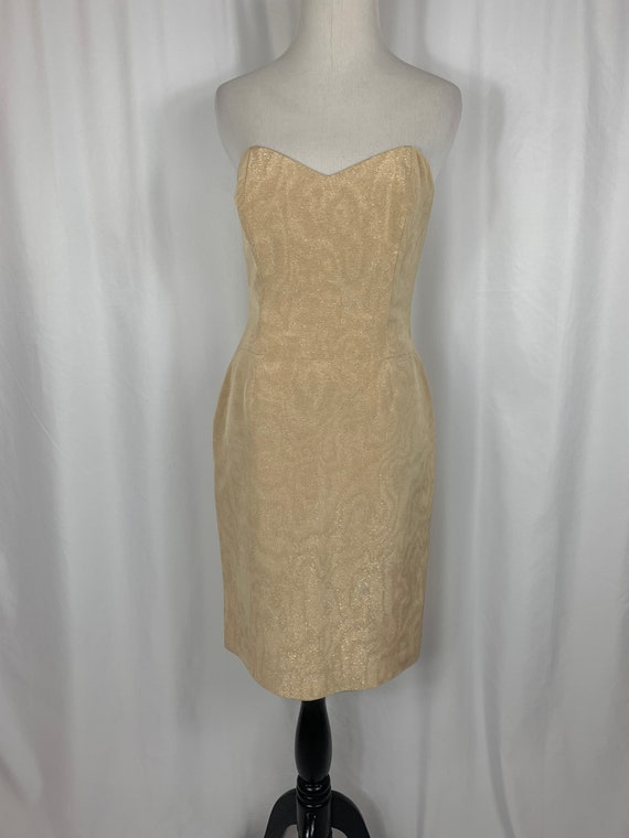 Vintage Champagne Brocade Strapless  Dress