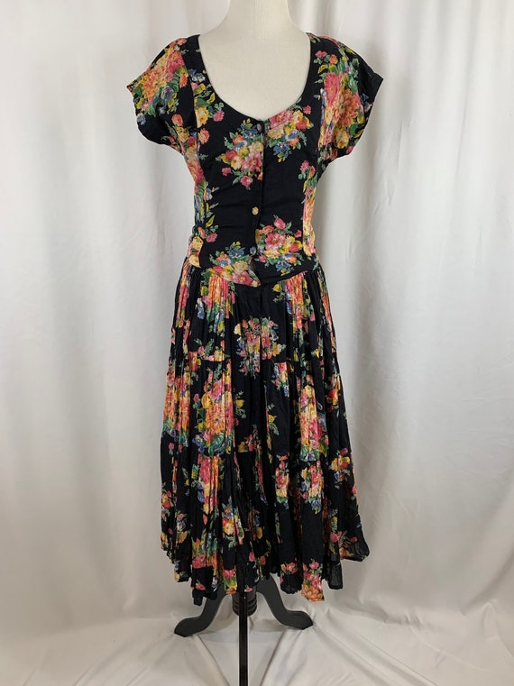 Vintage 90's Indian Cotton Floral Gauze Dress - image 1