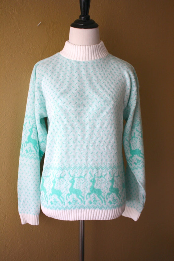 Vintage Little Girls Dancing Deer Novelty Sweater