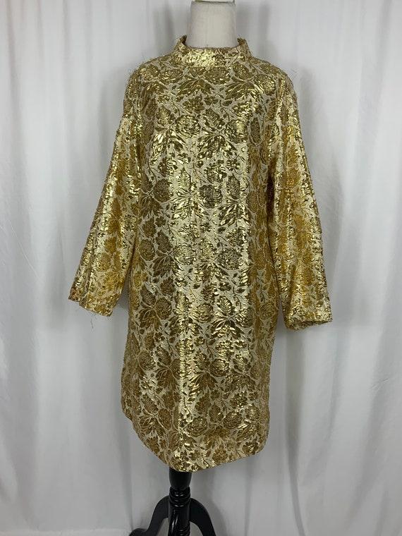 Vintage Gold Brocade Plus Size Dress