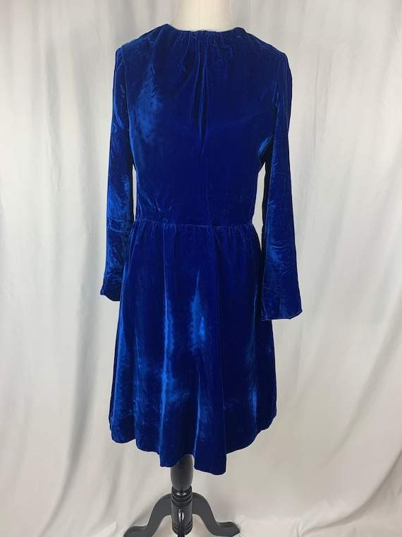 Vintage Royal Blue Velvet Dress