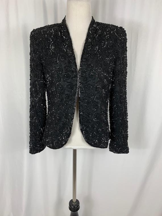 Vintage Sequined Black Silk Blazer