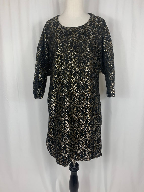 Vintage Black and Gold Lace Dress
