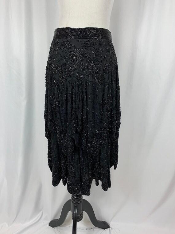 Stunning Vintage Black Silk Sequin Skirt
