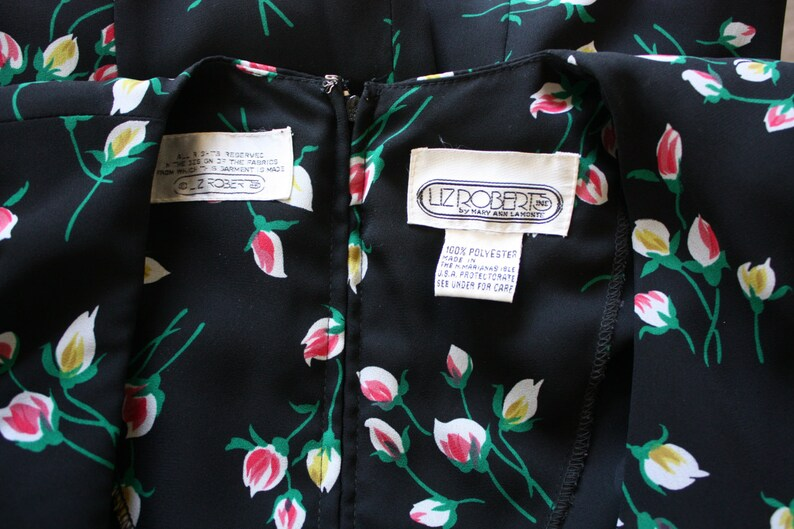 Vintage Rosebud Print Faux Wrap Blouse