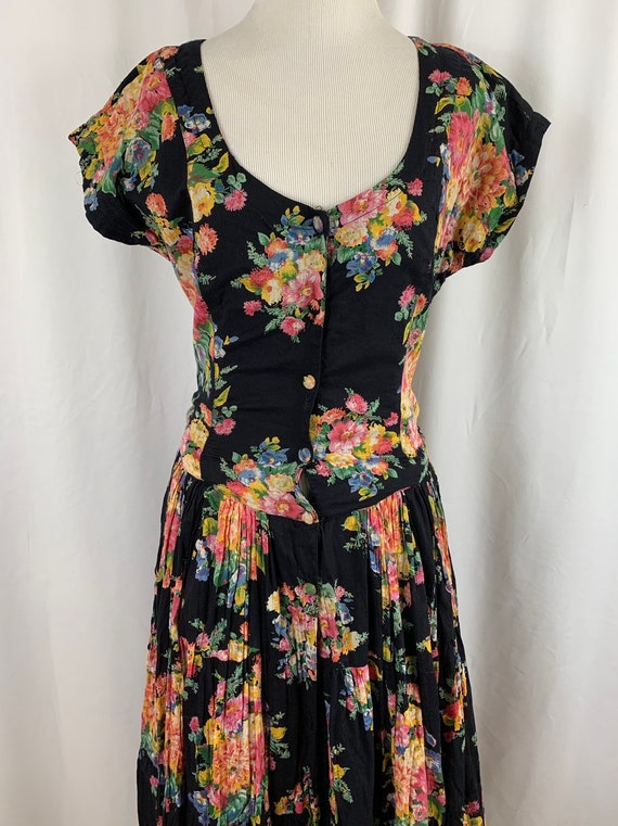 Vintage 90's Indian Cotton Floral Gauze Dress - image 5