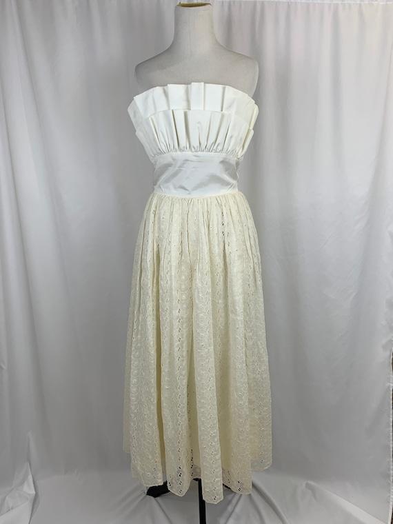 Vintage 1950's Ivory Tea Length Wedding Dress
