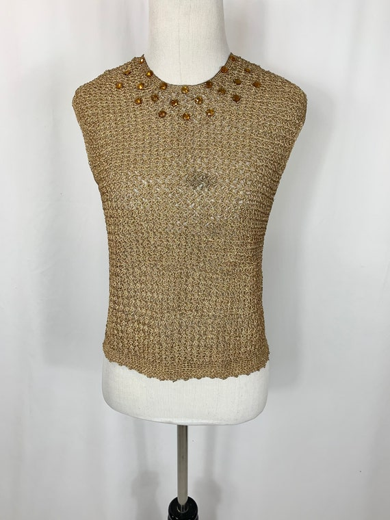 Vintage 1940's Gold Mesh Sweater