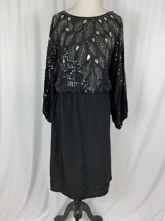 Vintage Black Sequin Silk Dress