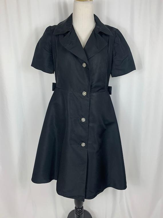 Vintage Black Fit and Flare Shirtwaist Dress - image 2
